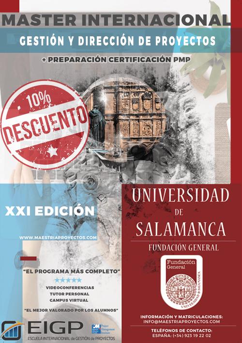 Cartel XXI Edición descuento master en direccion de proyectos